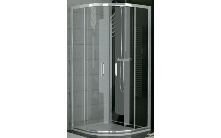 SANSWISS TOP LINE TOPR sprchové dveře 900x1900mm čtvrtkruhové, s dvoudílnými posuvnými dveřmi, aluchrom/sklo Cristal perly