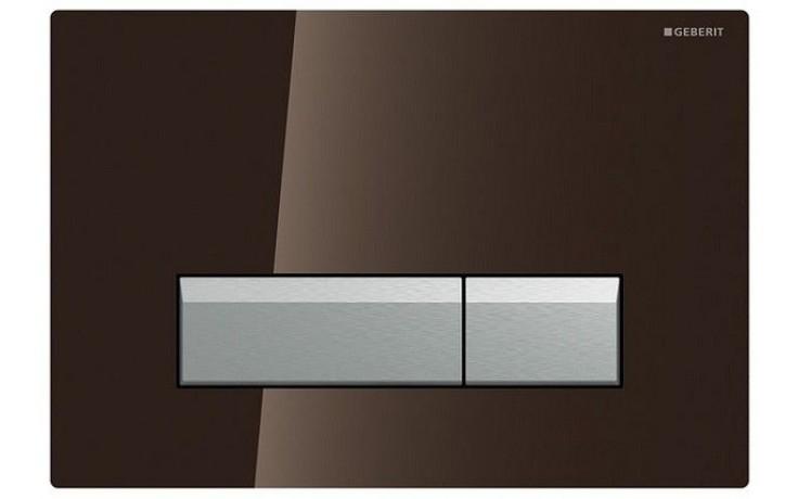 GEBERIT SIGMA 40 ovládací tlačítko s integrovaným odsáváním zápachu 26,6x18,2cm, sklo hnědé/kartáčovaný hliník 115.600.SQ.1