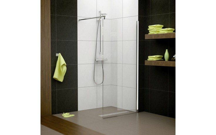 SANSWISS PUR LIGHT PLDT boční stěna 900x2000mm, aluchrom/čiré sklo Aquaperle