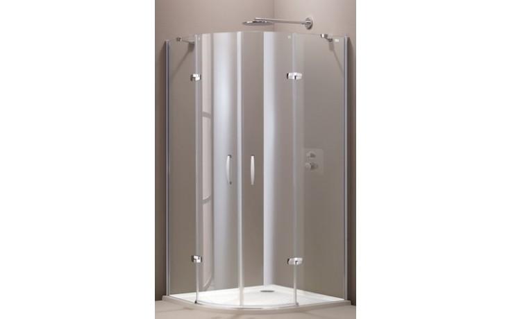 HÜPPE AURA ELEGANCE 2-křídlové dveře 900x900x1900mm s pevnými segmenty, čtvrtkruh, stříbrná matná/sklo čiré Anti-Plague