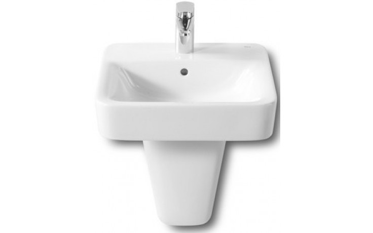 Umývátko klasické Roca s otvorem Dama Senso Square s instalační sadou 45 cm bílá MaxiClean