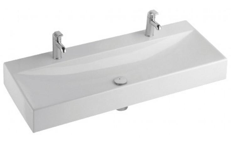 Umyvadlo klasické Kolo s otvorem Quattro  se 2 otvory 119x47x14,5 cm bílá+Reflex