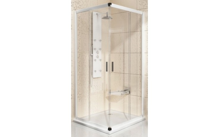 RAVAK BLIX BLRV2 90 sprchový kout 900x900x1900mm rohový, posuvný, čtyřdílný bright alu/transparent 1LV70C00Z1