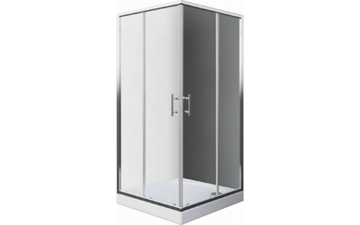 EASY ELS2 900 B sprchový kout 900x1900mm čtvercový, s dvoudílnými posuvnými dveřmi, bílá/transparent
