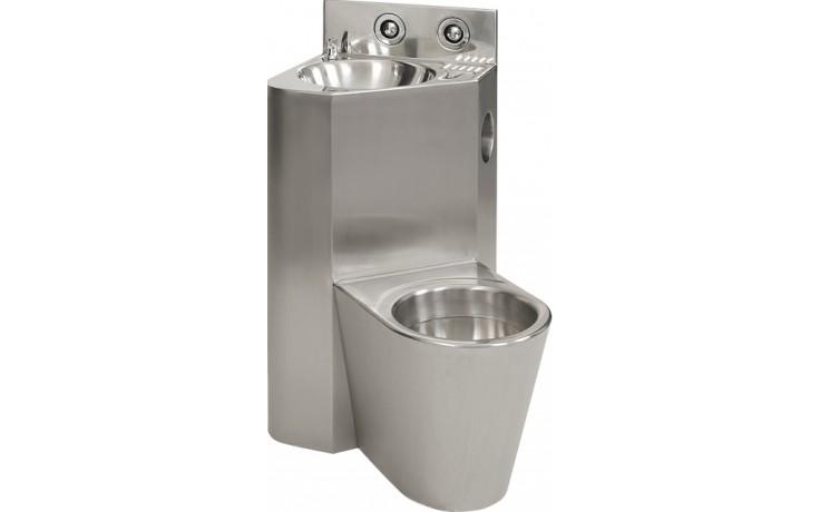 SANELA SLWN08L set WC s umyvadlem do rohu, WC na zemi vlevo, antivandal, nerez mat