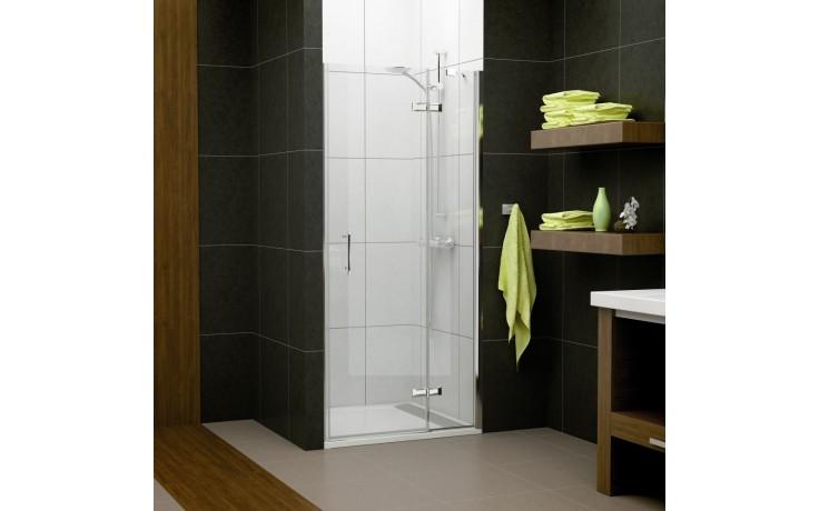 SANSWISS PUR LIGHT PL sprchové dveře 1200x2000mm jednokřídlé, s pevnou stěnou v rovině, panty vlevo, aluchrom/čiré sklo Aquaperle