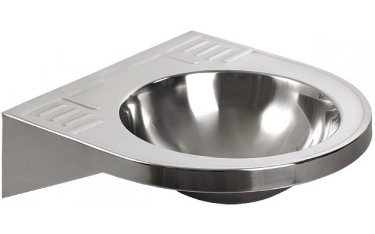 SANELA SLUN47 umyvadlo 503x496,5x150mm, závěsné, pro tělesně handicapované, s prolisy na mýdlo, nerez lesk