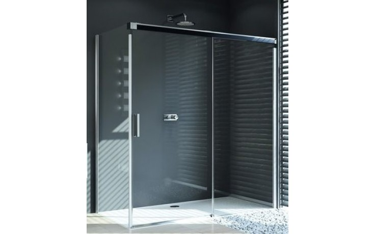 HÜPPE DESIGN PURE boční stěna 1000x1900mm pro posuvné dveře 1-dílné s pevným segmentem, stříbrná matná/čirá anti-plague 8P2704.087.322