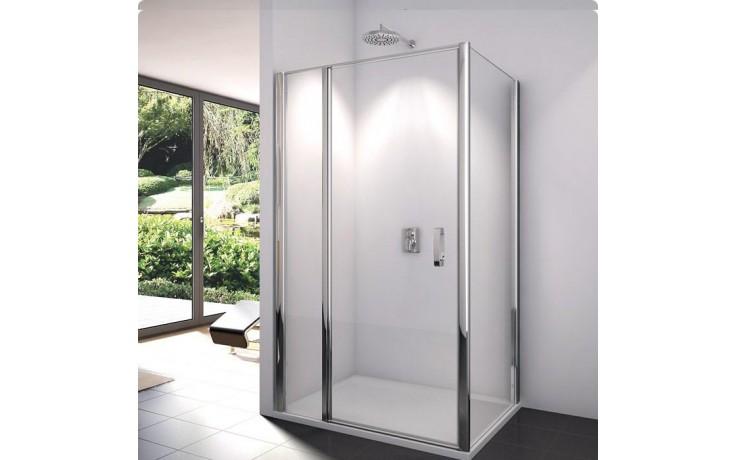 SANSWISS SWING-LINE SL13 sprchové dveře 1200x1950mm jednokřídlé, s pevnou stěnou v rovině, aluchrom/čiré sklo Aquaperle