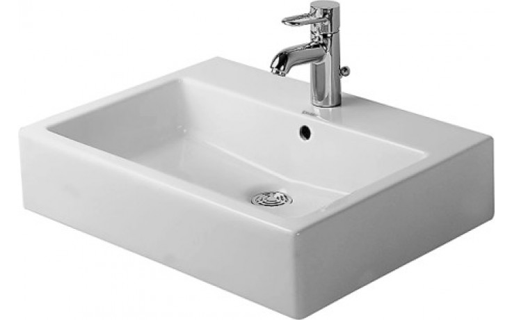 Umyvadlo klasické Duravit bez otvoru Vero s přetokem 60x46,5 cm bílá