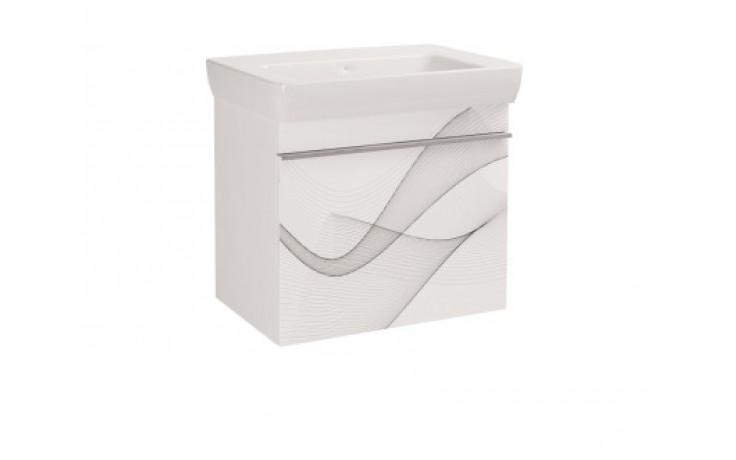 Nábytek skříňka s umyvadlem Dřevojas Vision 700 wave závěsná 645x560x437 mm bílá/wave