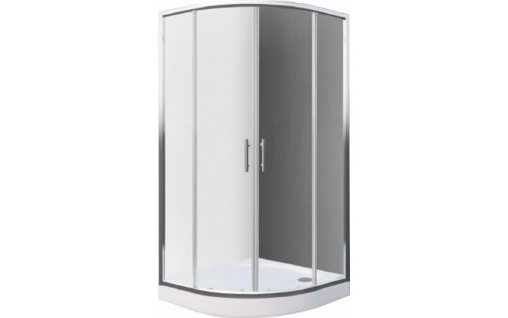 EASY ELR2 800 B sprchový kout 800x1900mm R550 čtvrtkruh, s dvoudílnými posuvnými dveřmi, bílá/transparent