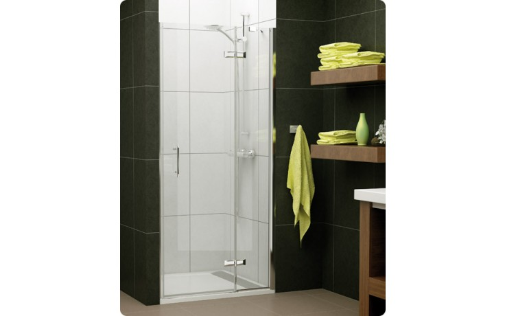 Zástěna sprchová dveře Ronal Pur Light PLG 1000 50 07 s pevnou stěnou 1000x2000 mm aluchrom/čiré AQ