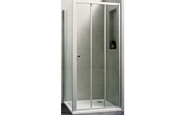 Zástěna sprchová čtverec - sklo Concept 100 NEW, posuvné dveře 3-dílné 800x800x1900 mm bílá/čiré AP