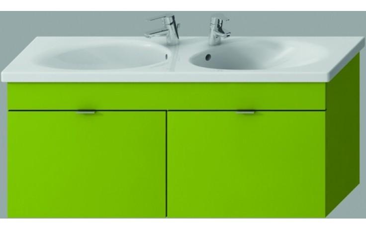 Nábytek skříňka s umyvadlem Jika Tigo s dvojumyvadlem a 2 zásuvkami 125 cm zelená