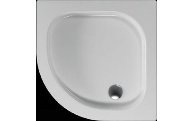 Vanička plastová Teiko čtvrtkruh Flores s protiskluzem 90x90x8cm bílá