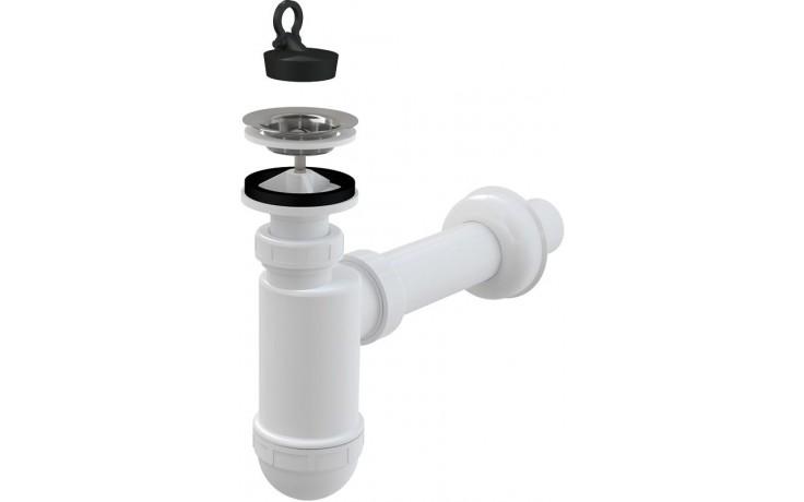CONCEPT umyvadlový sifon Ø40mm s výpustí, s nerezovou mřížkou Ø63mm, bílá/nerez