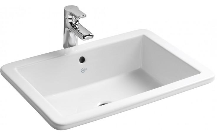 Koupelny Ptáček - IDEAL STANDARD STRADA umyvadlo 595x435mm zápustné, bez  otvoru s přepadem bílá K078001