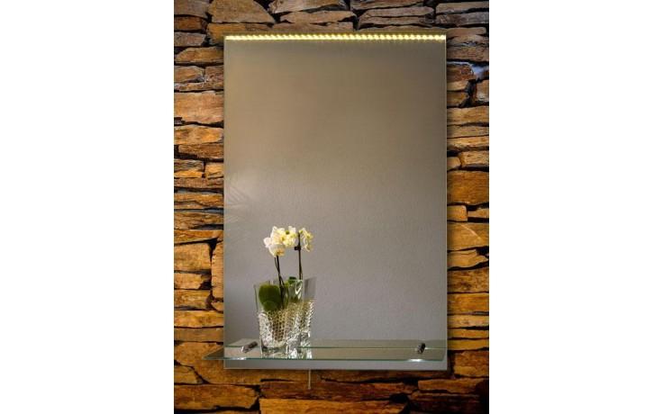 AMIRRO ORION OP zrcadlo 50x70cm, s LED osvětlením, s poličkou, s řetízkovým spínačem