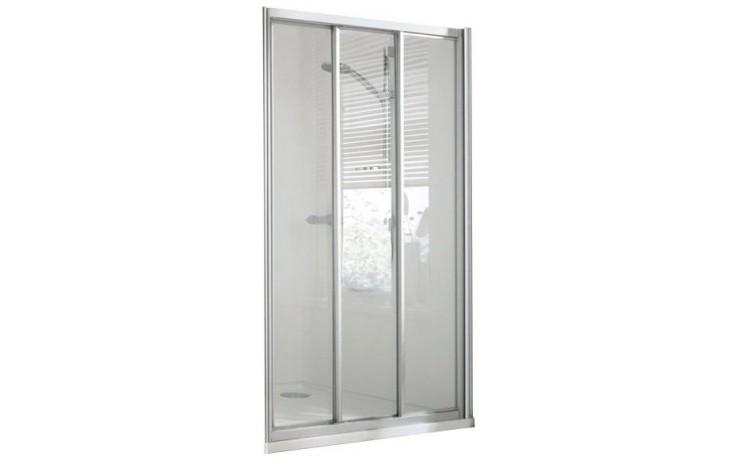CONCEPT 100 sprchové dveře 800x800x1900mm posuvné, rohový vstup, 3 dílné s pevným segmentem, stříbrná/matný plast