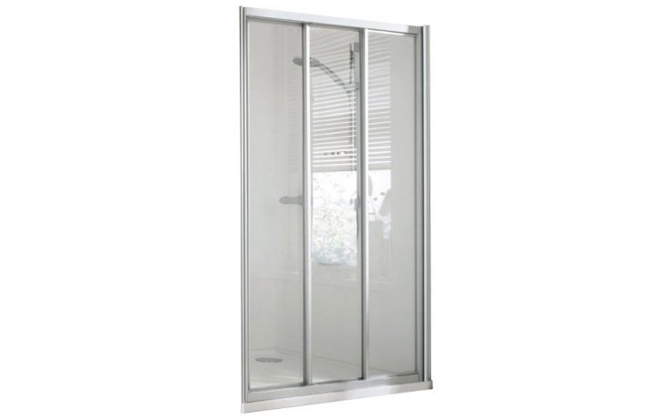 CONCEPT 100 sprchové dveře 1000x1000x1900mm posuvné, rohový vstup, 3 dílné s pevným segmentem, stříbrná/matný plast