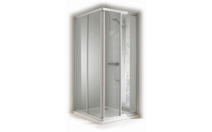CONCEPT 100 sprchový kout 1000x1000x1900mm, posuvné dveře, čtverec, 4 dílný, stříbrná/matný plast