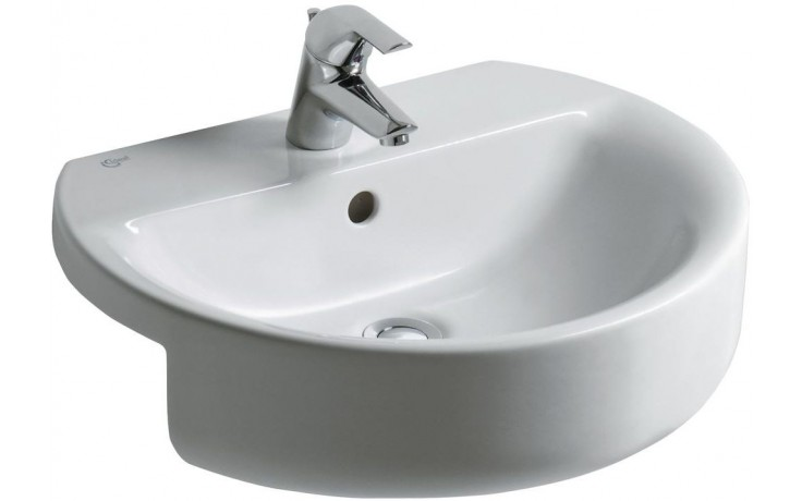 Umyvadlo polozápustné Ideal Standard s otvorem Connect Sphere 55x46,5 cm bílé
