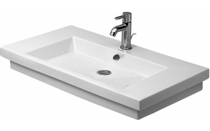 Umyvadlo nábytkové Duravit s otvorem 2nd floor broušené s přetokem 80x50 cm bílá