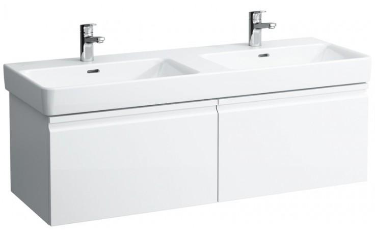 LAUFEN PRO S skříňka pod umyvadlo 1260x450x390mm se 2 zásuvkami, se sifonem, bílá lesk 4.8357.1.096.423.1