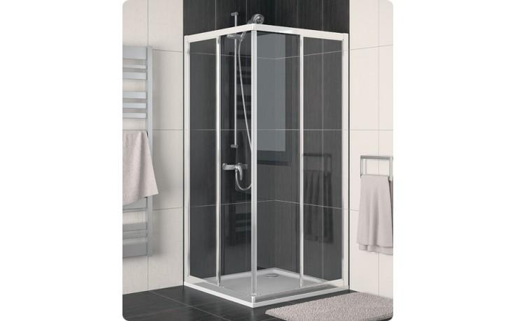 SANSWISS ECO-LINE ECOAC sprchový kout 800x800x1900mm s dvoudílnými posuvnými dveřmi, rohový vstup, aluchrom/čiré sklo Aquaperle