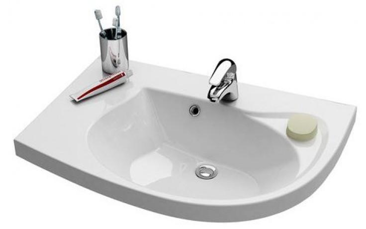 RAVAK ROSA COMFORT speciální umyvadlo nábytkové 780x550x160mm z litého mramoru, levé s otvorem, bílá