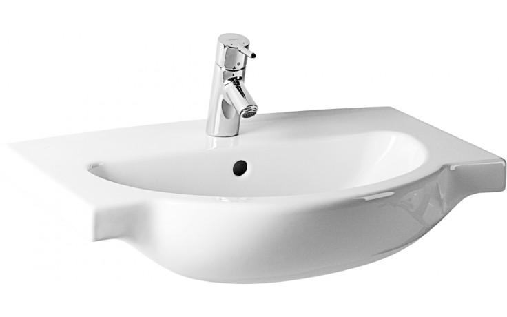 JIKA MIO nábytkové umyvadlo 670x470mm s odkládacími plochami, s otvorem, bílá Jika perla