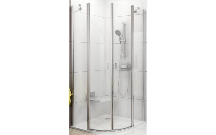 Zástěna sprchová čtvrtkruh Ravak sklo Chrome CSKK4-otevírací 900x1950mm bílá/transparent