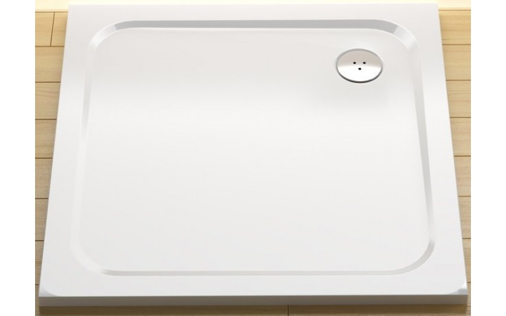 Vanička litý mramor Ravak čtverec PERSEUS PRO 80 CHROME 80x80 cm bílá
