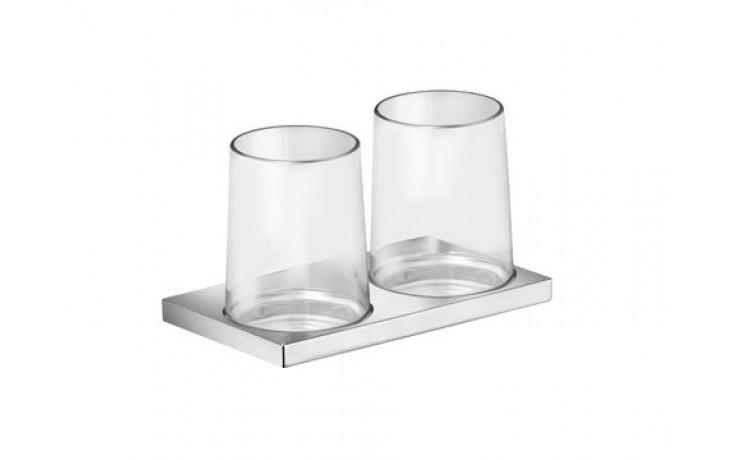 Doplněk držák se skleničkou Keuco Edition 11 dvojitý  chrom/sklo