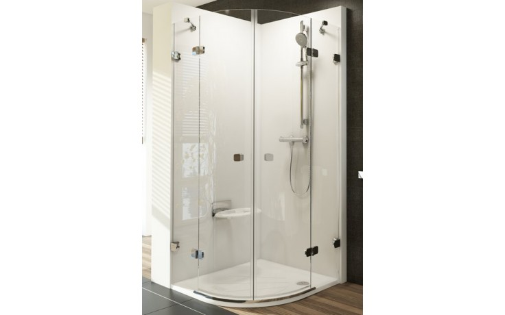 RAVAK BRILLIANT BSKK4 80 sprchový kout 800x800x1950mm čtvrtkruhový, R500, čtyřdílný, chrom/transparent