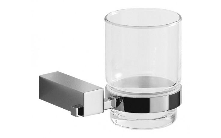 JIKA CUBITO držák se skleněným pohárkem 92x112x95mm chrom/transparentní sklo 3.8473.3.004.000.1