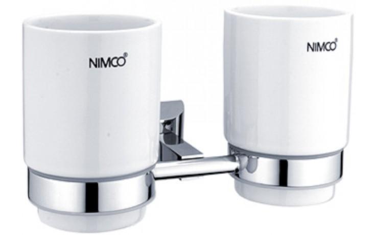 NIMCO PALLAS ATHÉNA dvojitý držák keramického pohárku 20x11x10,4mm chrom/bílá PA 12058DK-26