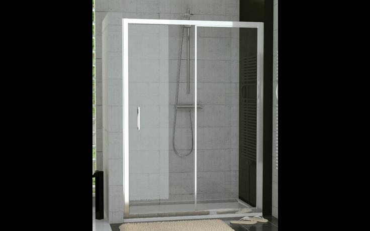 SANSWISS TOP LINE TOPS2 sprchové dveře 1200x1900mm, jednodílné posuvné, s pevnou stěnou v rovině, matný elox/čiré sklo Aquaperle