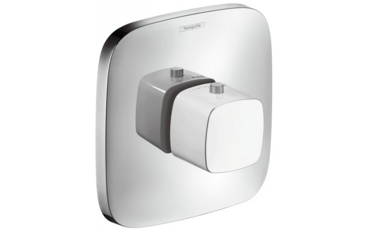 Baterie termostatická Hansgrohe - PuraVida pod omítku s uzavíracím ventilem, vrchní sada  bílá-chrom