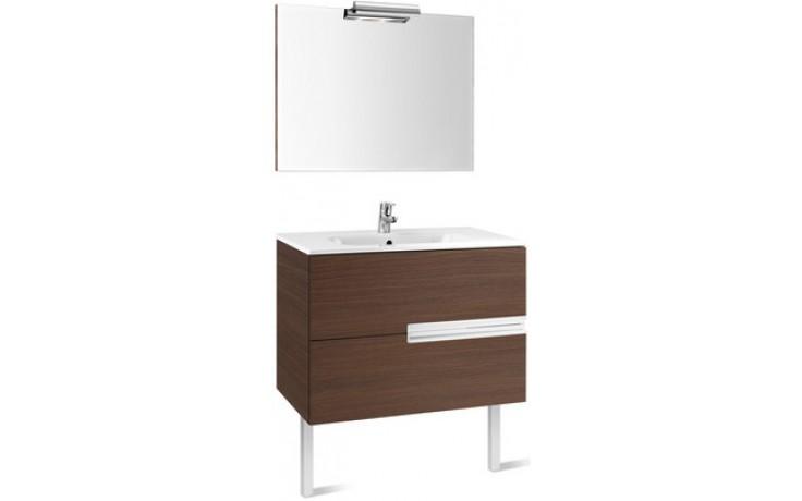 ROCA PACK VICTORIA-N nábytková sestava 605x460x565mm skříňka s umyvadlem a zrcadlem s osvětlením dub 7855844155