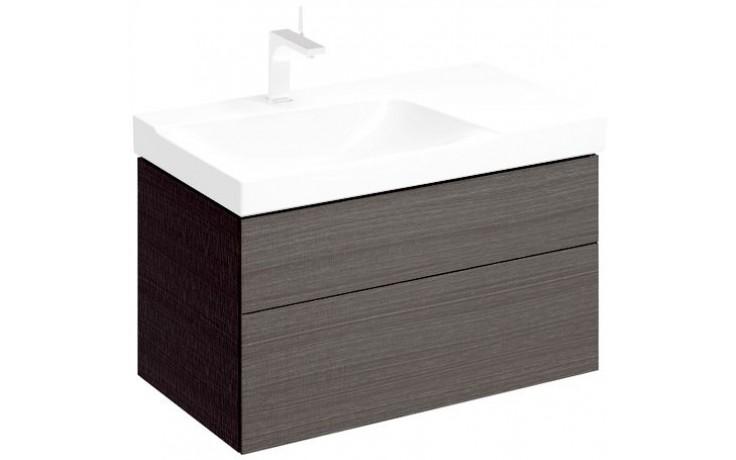 KERAMAG XENO 2 skříňka pod umyvadlo 88x53cm s výřezem na sifon vlevo, struktura dřeva Scultura šedá 807592000
