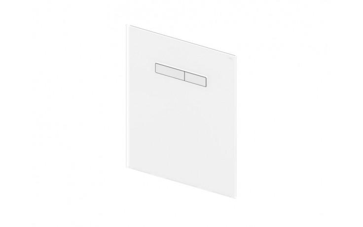 Horní skleněná deska pro montážní prvek TECElux se dvěma odpruženými ovládacími tlačítky. Bílé sklo, tlačítka bílá.