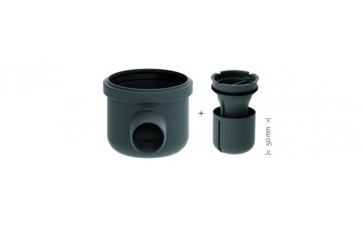 S vodorovnou výpustí Ø 50 mm. Lze jí otáčet o 360 dle umístění odpadního potrubí.