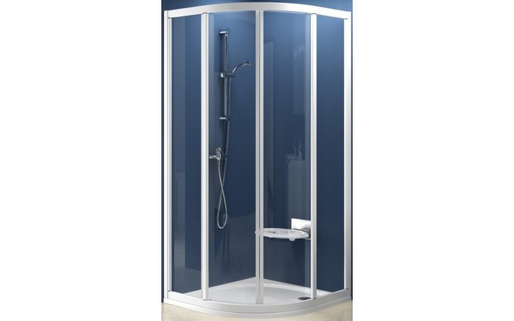 RAVAK SUPERNOVA SKCP4 80 sprchový kout 775-795x1850mm čtvrtkruhový, čtyřdílný, posuvný, bílá/grape 31140100ZG