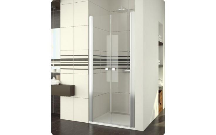Zástěna sprchová dveře Ronal sklo Swing Line SL2  0900 50 07 dvoukřídlé 900x1950 mm aluchrom/čiré sklo+Aquaperle