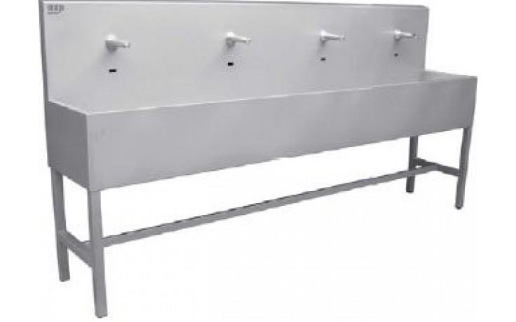 AZP BRNO AUL 03Z.3 umývací žlab 1900x1270mm, s výtokovými ramínky, s termostatickým ventilem, závěsný, nerez ocel