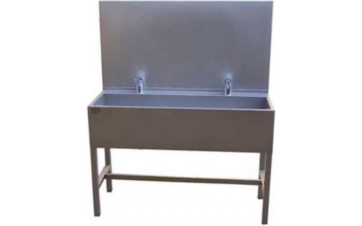 AZP BRNO AUL 02.3 umývací žlab 1900x1500mm, s výtokovými ramínky, s termostatickým ventilem, nerez ocel