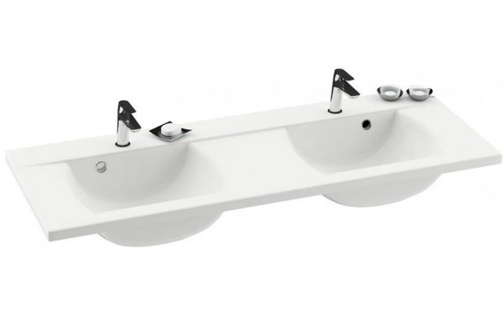 RAVAK CLASSIC 1300 dvojumyvadlo 1300x490x207mm, s otvorem a přepadem, bílá/litý mramor