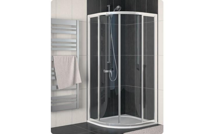 Zástěna sprchová čtvrtkruh Ronal sklo ECO-Line ECOR 50 080 50 07 800x1900/R500 aluchrom/čiré